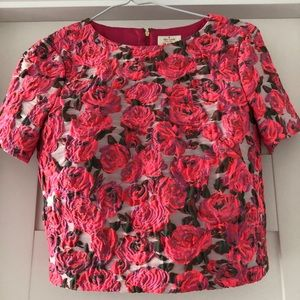 Kate Spade brocade flower zip up top